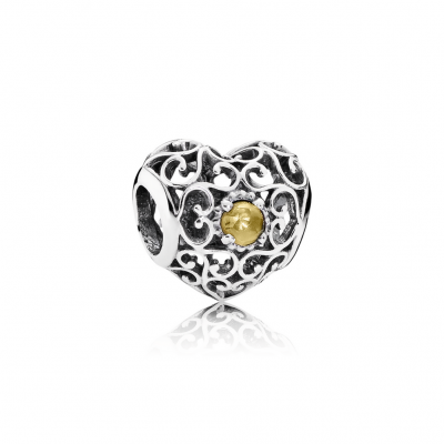 Pandora November Signature Heart, Citrine