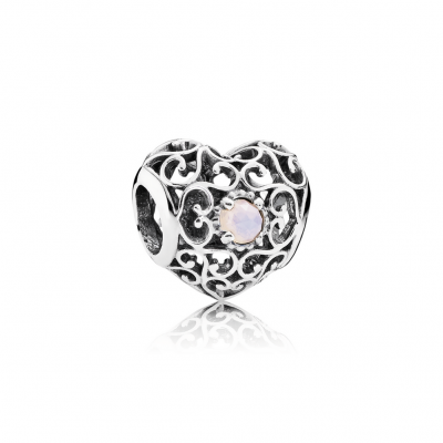Pandora October Signature Heart, Opalescent Pink Crystal