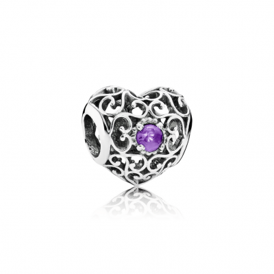 Pandora February Signature Heart, Synthetic Amethyst