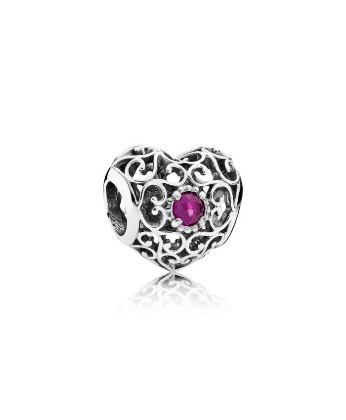 Pandora July Signature Heart, Synthetic Ruby
