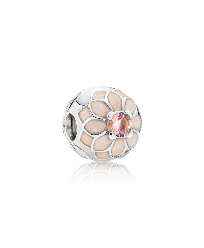 Pandora Blooming Dahlia Clip, Cream Enamel & Blush Pink Crystal