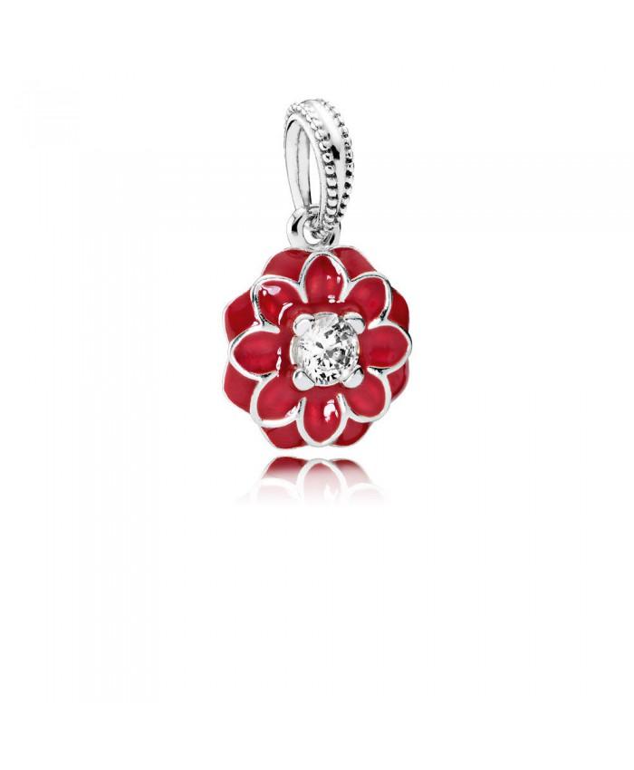 Pandora Oriental Bloom, Red Enamel & Clear CZ
