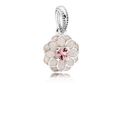 Pandora Blooming Dahlia, Cream Enamel & Blush Pink Crystal