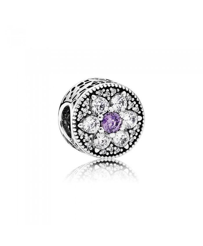 Pandora Forget Me Not, Purple & Clear CZ