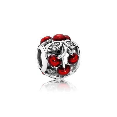 Pandora Sweet Cherries, Glossy Red Enamel & Clear CZ