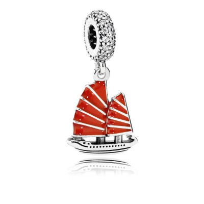 Pandora Chinese Junk Ship, Red Enamel & Clear CZ