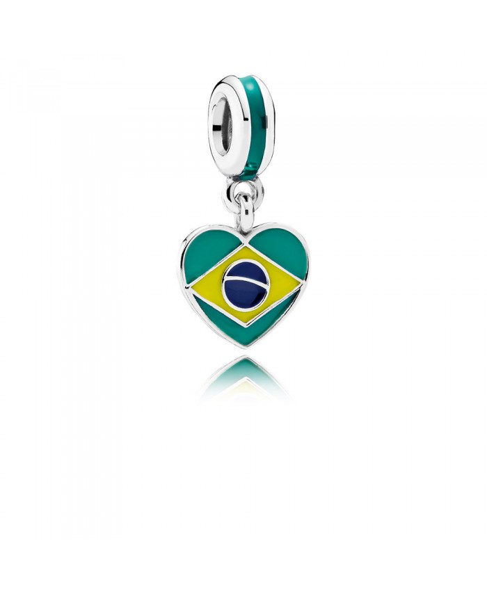 Pandora Brazil Heart Flag, Mixed Enamels