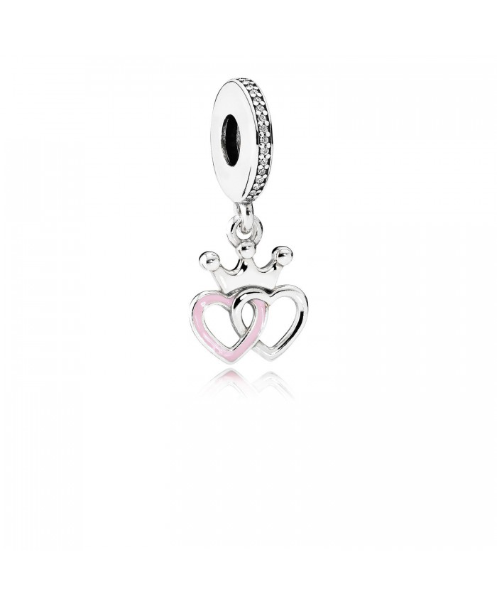 Pandora Crowned Hearts, Orchid Pink Enamel & Clear CZ
