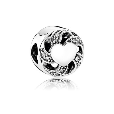 Pandora Ribbon Heart, Clear CZ