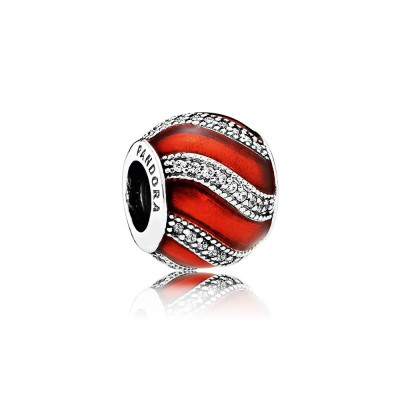 Pandora Adornment, Translucent Red Enamel & Clear CZ