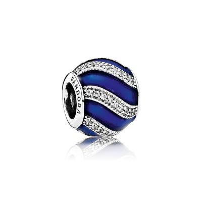 Pandora Adornment, Transparent Royal-Blue Enamel &  Clear CZ