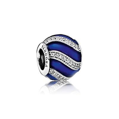 Pandora Adornment, Transparent Royal-Blue Enamel &  Clear CZ