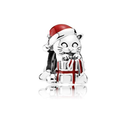 Pandora Christmas Kitten, Berry Red Enamel