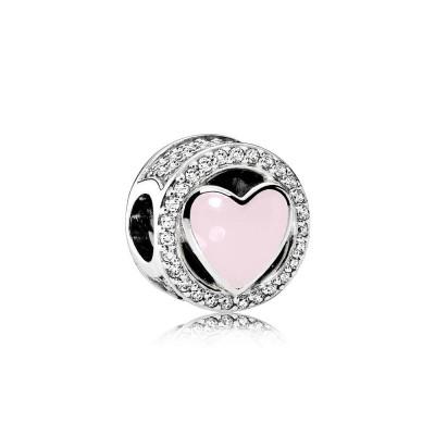 Pandora Wonderful Love, Soft Pink Enamel & Clear CZ