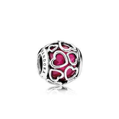Pandora Cerise Encased in Love, Cerise Crystal