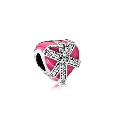 Pandora Gifts of Love, Magenta Enamel & Clear CZ