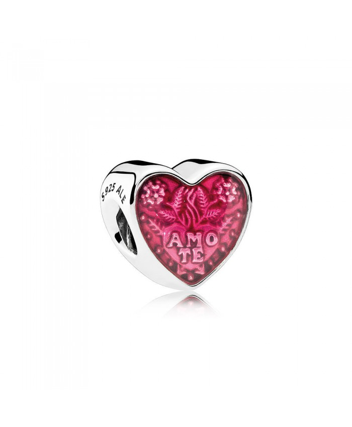 Pandora Latin Love Heart, Transparent Cerise Enamel