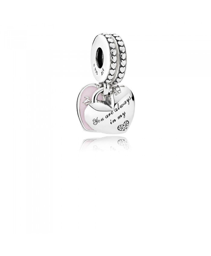 Pandora Mother & Daughter Hearts Dangle Charm, Soft Pink Enamel & Clear CZ