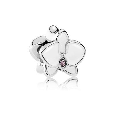 Pandora Orchid, White Enamel & Orchid CZ