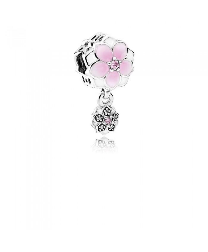 Pandora Magnolia Bloom, Pale Cerise Enamel, Pink & Clear CZ