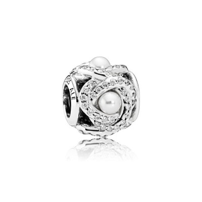 Pandora Luminous Love Knot, White Crystal Pearl & Clear CZ