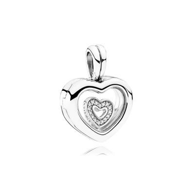 PANDORA Floating Heart Locket, Sapphire Crystal Glass & Clear CZ
