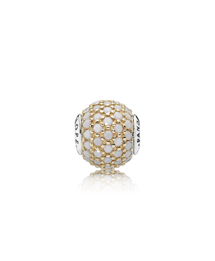 Pandora HOPE, 14K Gold & Opaque White Crystal