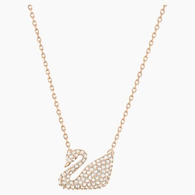 Swarovski Swan Necklace White Rose-gold Tone Plated