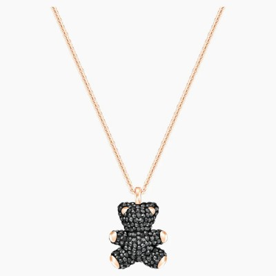 Swarovski Teddy 3D Pendant Black Rose-gold Tone Plated