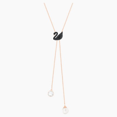 Swarovski Iconic Swan Y Necklace Black Rose-gold Tone Plated