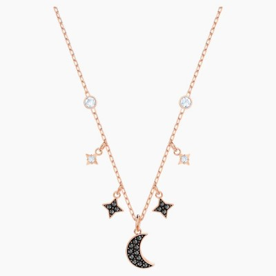 Swarovski Symbolic Moon Necklace, Black, Rose-gold Tone Plated