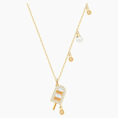 Swarovski No Regrets Ice Cream Pendant Multi-colored Gold Tone Plated