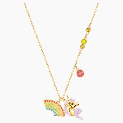 Swarovski Out Of This World Unicorn Necklace Multi-colored Gold-tone Plated